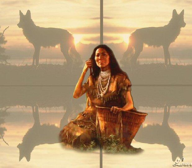 Femme avec les loups
